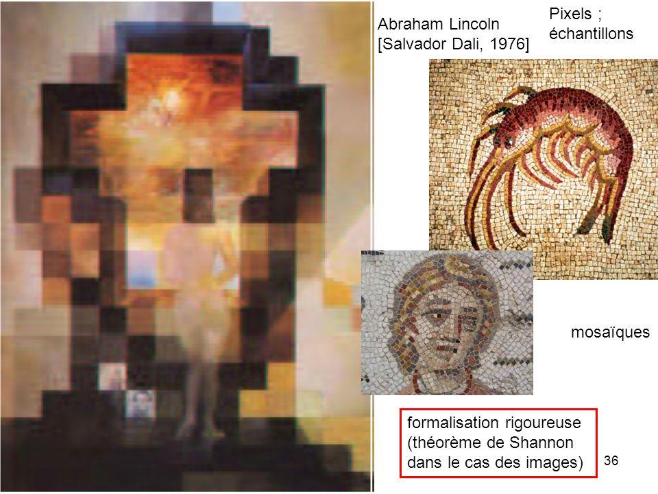 Pixels ; échantillons Abraham Lincoln [Salvador Dali, 1976] mosaïques. formalisation rigoureuse (théorème de Shannon.